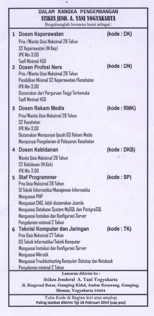 Lowongan STIKES A. Yani Yogyakarta