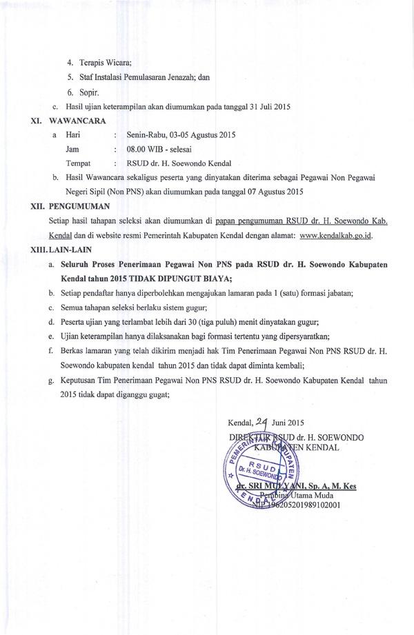 REKRUTMEN PEGAWAI NON PNS RSUD dr. H. SOEWONDO KENDAL TAHUN 2015.